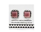 Pink Shell Square Stud Earrings, 925 Sterling Silver, Authentic Native American USA Handmade, Nickel Free