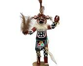 12 Inch Authentic Mudhead Kachina Doll, Genuine Navajo Native American Tribe Handmade, Artist Signed, Southwestern Collectible Figurine