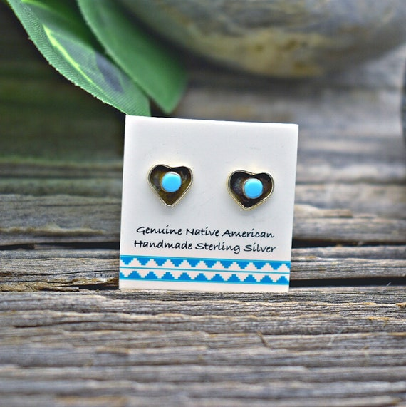 Nickle Free Genuine Sleeping Beauty Turquoise Inlaid Earrings in 925 Sterling Silver Authentic Native American Handmade in the USA