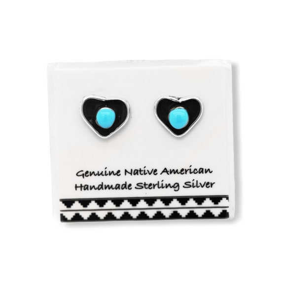 Handmade in the USA 5mm Genuine Sleeping Beauty Turquoise Inlay Stud Earrings in 925 Sterling Silver Authentic Navajo Native American Nickle Free