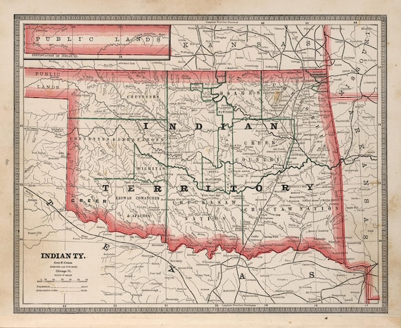 Indian Territory Map 1883 Vintage Oklahoma Map Us State Map Etsy - Us-indian-territory-map