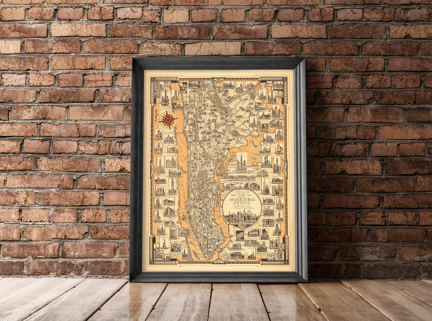 Manhattan Vintage Map Manhattan Map New York City Poster | Etsy