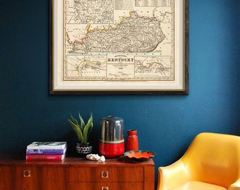 Kentucky Old Map 1845, Kentucky Map, Vintage Map of Kentucky, Kentucky State, Office Decor- CP127