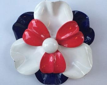 Vintage 1960's Red White & Blue Pansy Enamel Brooch, Floral Pin Costume Jewelry Rollover Clasp