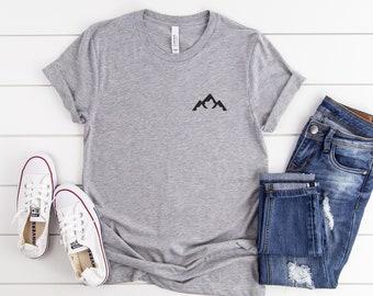 Mountain tshirt outdoors shirt gift womens graphic tee men adventure pocket tshirts tumblr gift for her
