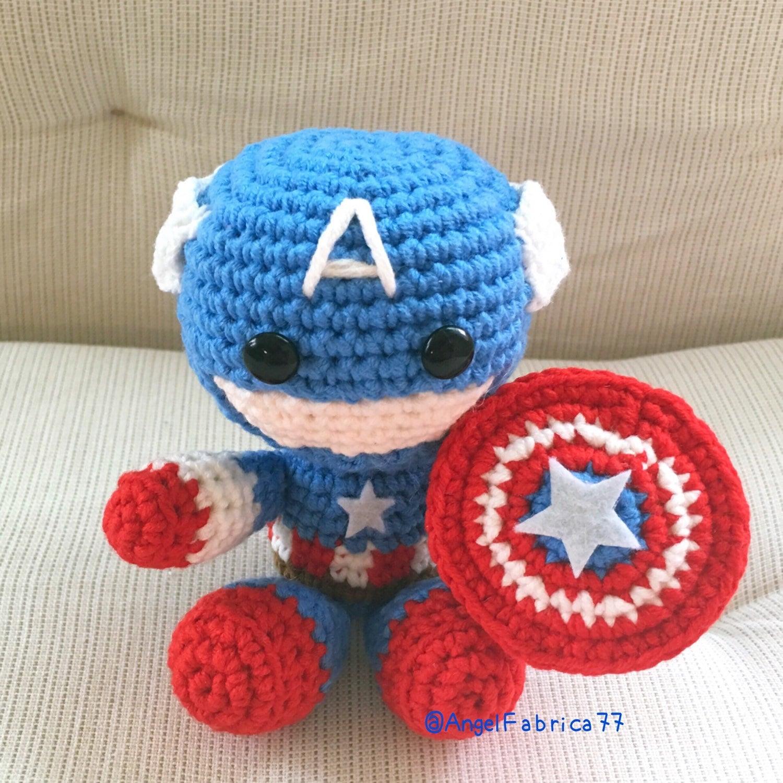 Captain America With Shield Amigurumi Figure Doll Crochet Etsy