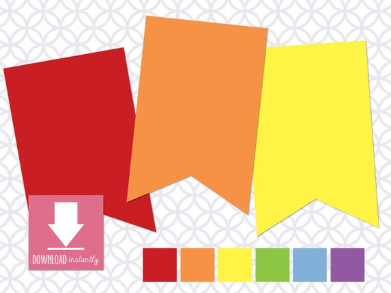 Printable Pennant Banner That Includes 6 Colors Rainbow Etsy