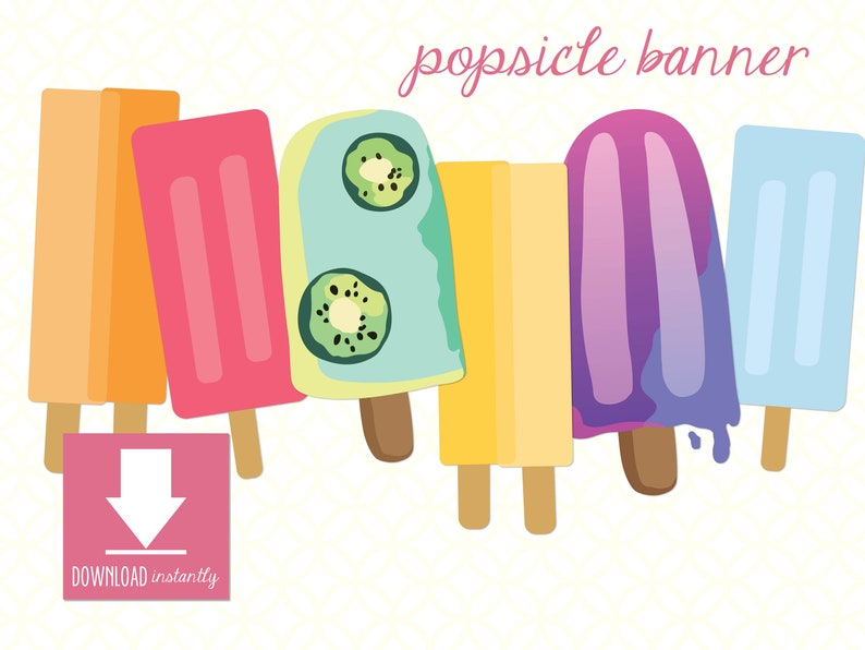graphic about Popsicle Printable named Printable Popsicle Banner (Prompt Electronic Obtain), 6 Various Vibrant Popsicles, Do it yourself