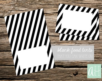 Printable Black and White Stripes Food Table Tent Cards Place cards: Instant Download, 2 sizes