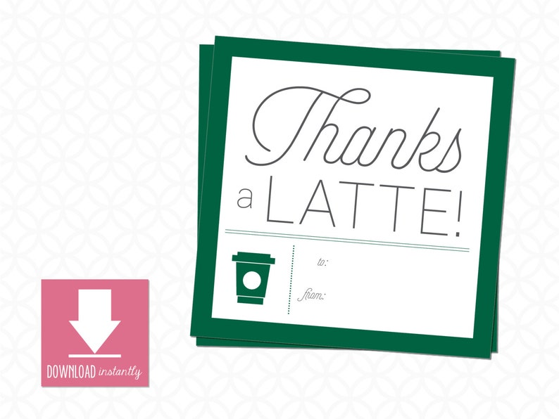 picture regarding Thanks a Latte Printable Tag referred to as Printable Trainer Appreciation Present Tags, Because of a Latte: Instantaneous Obtain, measurement is 3inside X 3inside