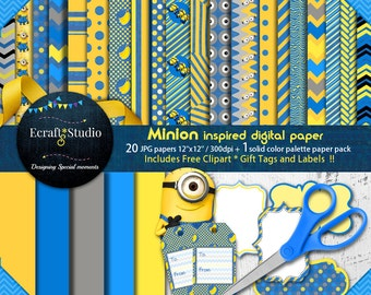 "Minions digital paper - 20 Papers - clipart - birthday - despicable - 12""x12"" - scrapbooking - printable - Instant Download - tags - party"
