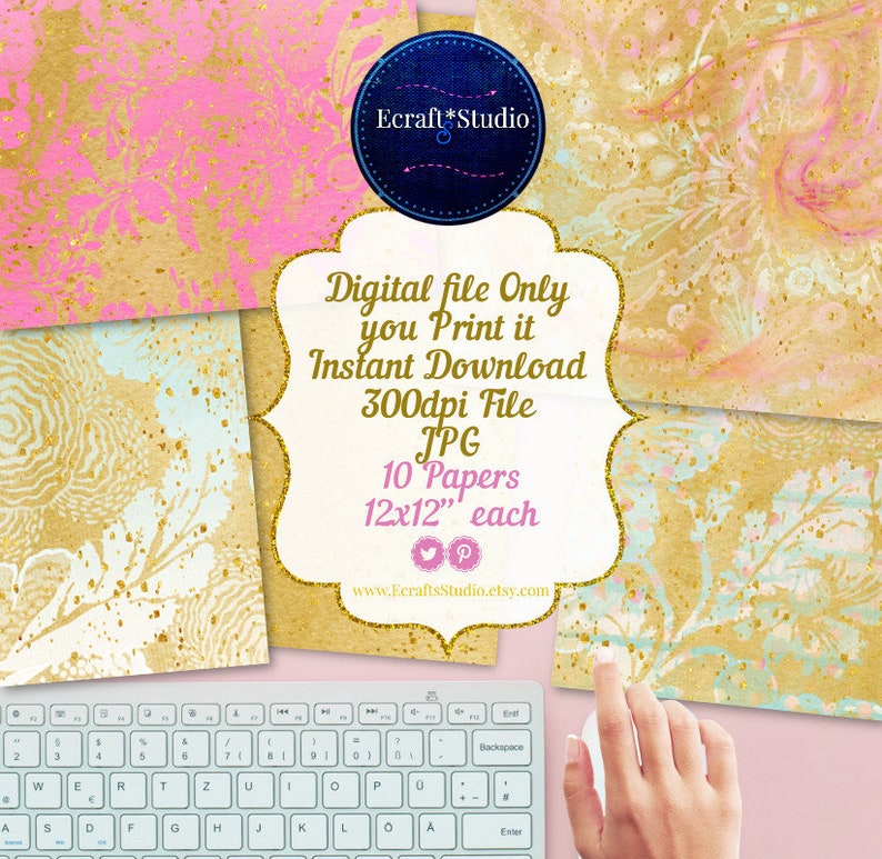 Gold watercolor flowers digital papers Flowers glitters digital papers instant Distressed digital papers Glitter watercolor paper pack