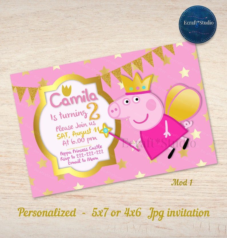 Fairy Peppa Pig Personalized Invitation