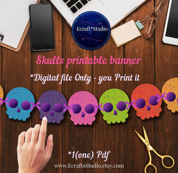 graphic relating to Printable Skulls identify Coco Disney garland - Coco Occasion materials - Sugar Skulls