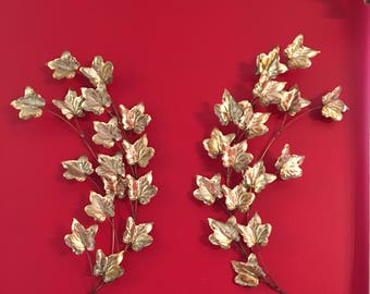 Brass Leaves ~ Home Interior ~ Set of Two ~ Leaf Swag ~ Wall Decor ~ Vintage