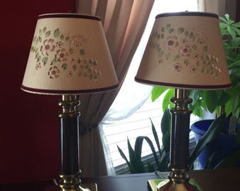 409e57b7285b Brass and Faux Marble Lamps ~ Set of Two ~ Burgundy Brown ~ Cut-out Paper  Shades ~ 20.5 inches high ~ Electric ~ Vintage