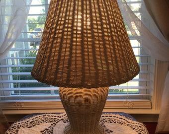White Wicker Lamp Etsy