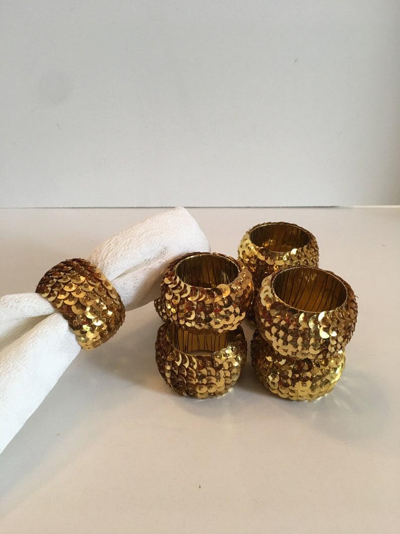 Napkin Rings Set Of Eight Napkin Holder Gold Hollywood Glam Shabby