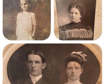 Antique Photos ~ Set of Three ~ Family Photos ~ Dated 1897 ~ 1904