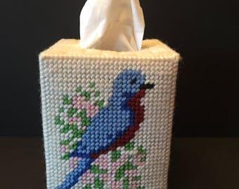 Needlepoint Tissue Box ~ Box Cover ~ Birds ~ Vintage