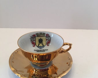 Cuxhaven Duhmen Nordseebad ~ Teacup and Saucer ~ Gold ~ KHM Bavaria Germany ~ Gold Crown ~ Cup and Plate ~ Vintage