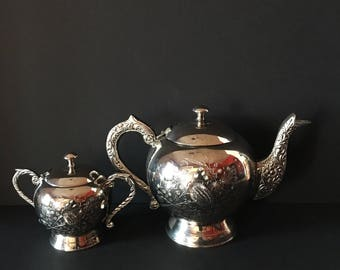 Silverplate Teapot and Sugar Bowl ~ Floral Design ~ India or Moroccan ~ Vintage