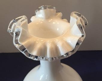Fenton Vase ~ Silvercrest ~Ruffle Edge ~ Milk Glass ~ Vintage
