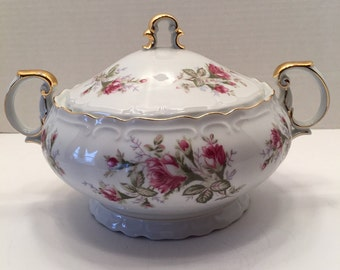Vintage Norleans China Japan Covered Bowl~Old Roses~ Covered Vegetable Bowl