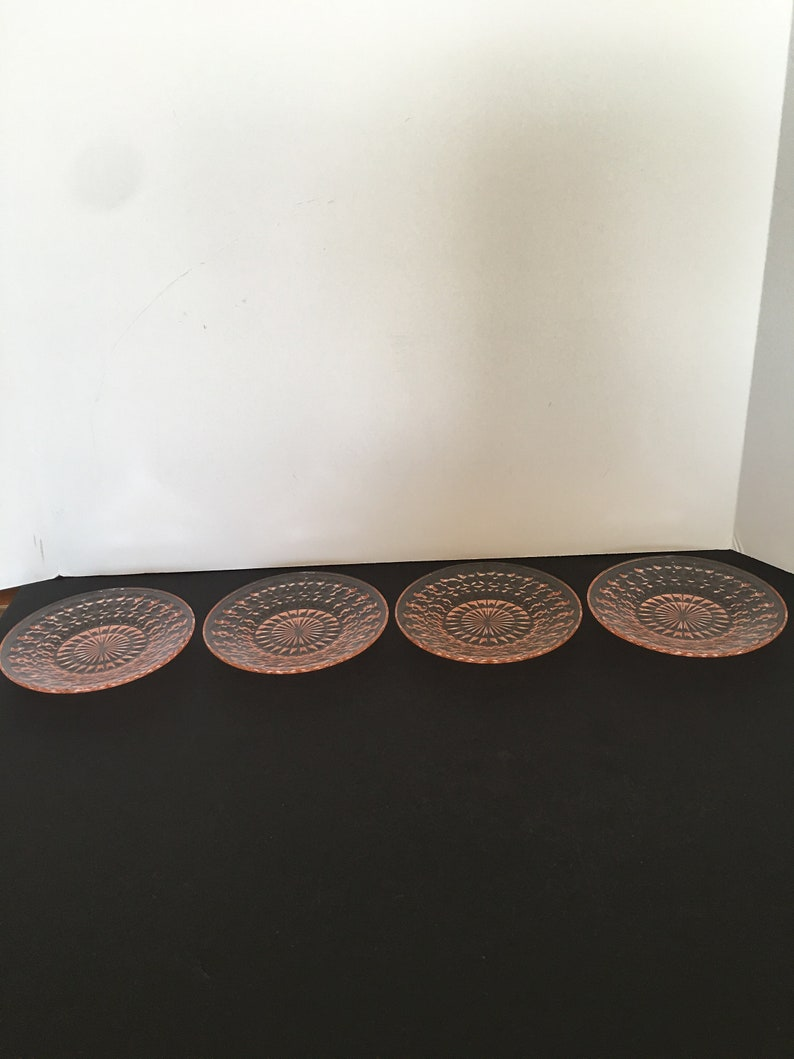 Jeanette Glass ~ Holiday Pink Buttons and Bows ~ 1940\u2019s ~ Set of Four Small Plates ~ Textured Back~Vintage