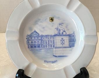 Stuttgart Germany  Souvenir Ashtray~ Blue & White ~ Winterling Bavaria Germany ~ Vintage