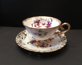 Celebrate ~ Made in Japan ~ Teacup and Saucer ~Purple White Yellow ~ Gold trim ~ Vintage