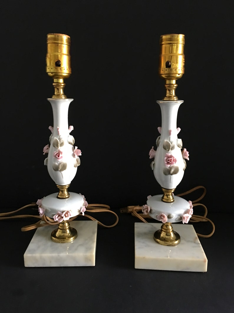 Vintage Roses Lamps ~ Marble Base ~ Set of Two Lamps ~ Pink Roses ~ Electric Lamps ~ Lamps Only ~ No Shades