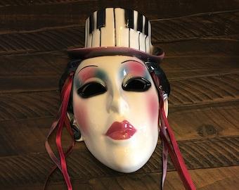 Ceramic Mask ~ Black and White Hat ~ Ribbon Streamers ~ Costume ~ Mardi Gras ~ Masquerade ~ Home Decor ~ Shabby Chic ~ Vintage