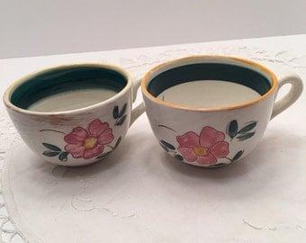 Vintage Stangl Pottery ~ Set of Two Cups ~ Terra Rose Garden Flower ~ Trenton NJ