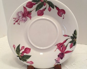 Flower of the Month Plate ~ August ~ Fuchsia ~ Designer Kathy Pickles ~ Dunoon ~ Bone China ~ Made in England ~ Vintage