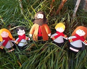 Harry Potter inspired felt figure (13 cm), Hagrid, Severus Snape, Ron, Hermione, Ginny, Harry Potter Nursery