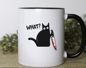 murder cat, What? black cat with knife, moody cat mug, true crime gift for cat lovers, cats and true crime, funny cat mug
