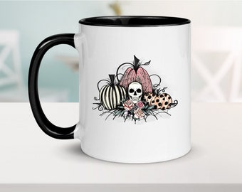 fall mug pink pumpkin spice mug pink lace skull halloween mug