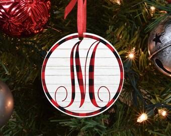 red buffalo plaid initial ornament, family ornament, personalized ornament, custom ornament, name ornament, monogram ornament