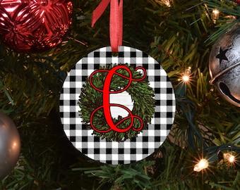 black buffalo plaid initial ornament, family ornament, personalized ornament, custom ornament, name ornament, monogram ornament