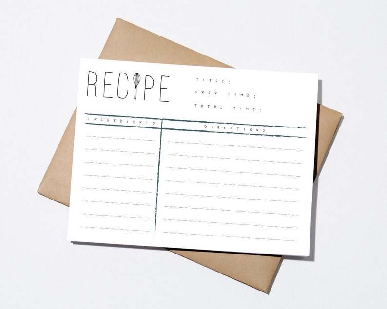 Recipe Cards  Brush Stroke  Set of 12 image 0