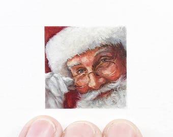 Print of miniature watercolor painting of Santa face.  giclee print of close up Santa and glasses