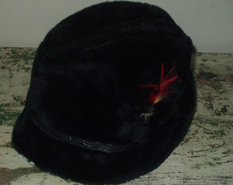74b50169dc2 Vintage Black Faux Fur Fedora Hat United Hatters Cap Millinery Wers Int. Union  made in USA Medium