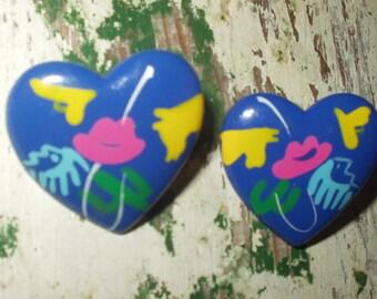 Vintage 80s Memphis Modernist Style Pierced Earrings Heart