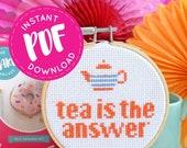tea cross stitch, PDF download, PDF pattern, modern cross stitch, cross stitch pattern, modern needlework, pattern, tea gifts