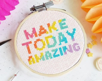 Make Today Amazing Cross Stitch Kit, Cross Stitch, DIY kit, Craft Kit, Stitch Pattern, Craft Supplies, gifts for her, galentines day