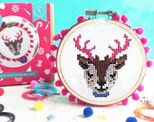 reindeer cross stitch, cross stitch kit, cross stitch, modern cross stitch, christmas, gifts for her, DIY christmas, patterns and DIY
