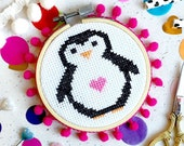 Penelope Penguin Cross Stitch Kit, Cross Stitch pattern, cross stitch kit, funny cross stitch, cute penguin, stocking filler