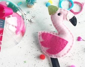 flamingo decoration, christmas ornament, christmas decoration, diy decoration, craft kit, stocking fillers, stocking stuffer, gifts, craft