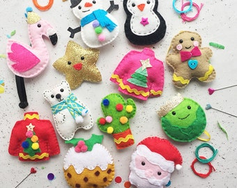 12 diys of craftmas diy felt set felt kits sewing kits christmas crafting craft felt sewing christmas ornaments decorations diy